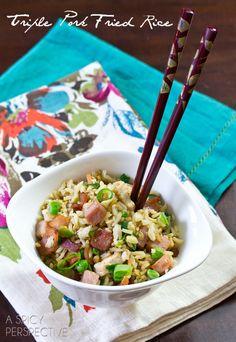 Triple Pork Fried Rice | ASpicyPerspective.com #pork #bacon #friedrice