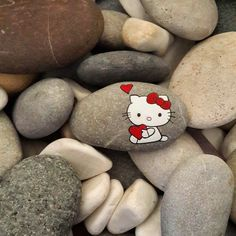 Hello Kitty painted Rock with hearts!!