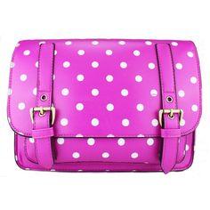 Ladies Polka Dot Large Medium Vintage Work Briefcase School Satchel Shoulder Bag…