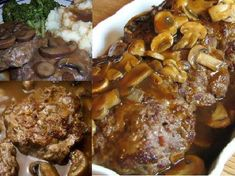 Granny's Salisbury Steak Recipe 1 ½ lbs ground beef 1 cup chopped onion ½ cup cooked rice ¼ tsp black pepper 1 egg 1 ¾ cups sliced fresh mushrooms 2 Tbsp Worcestershire sauce ½ tsp salt 3 cups beef broth 3 Tbsp water 2 Tbsp cornstarch Beef Dishes, Food Dishes, Main Dishes, Meat Recipes, Cooking Recipes, Cooking Ideas, Easy Steak Recipes, Cookbook Recipes, Salisbury Steak Recipes