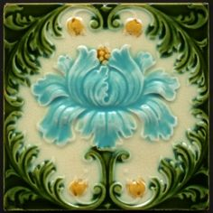 Mirabellicious ♥: The Tile Files: Majolica. Art Nouveau Floral Majolica Tile, manufactured in the U. by Corn Bros, circa Available to purchase from Tile Heaven. Antique Tiles, Vintage Tile, Vintage Art, Manufacture De Sevres, Azulejos Art Nouveau, Architecture Art Nouveau, Design Art Nouveau, Jugendstil Design, Art Nouveau Tiles