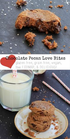 Gluten Free Vegan Cookies | Dark Chocolate Pecan Love Bites | Also, grain free, low FODMAP, and absolutely delicious!