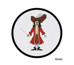 Cross Stitch Pattern Captain Hook Instant Download by TinyNeedle