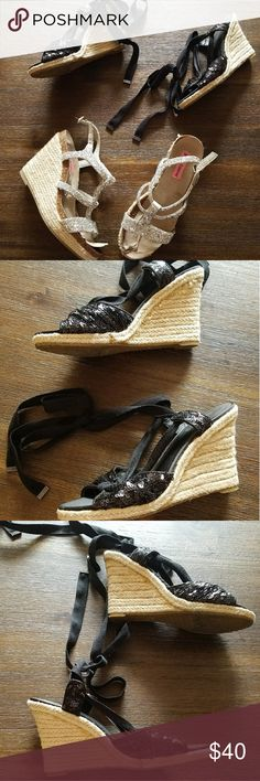 Shoe Bundle-Guess espadrilles and Betsey Johnson Both super cute but have defects.  The glue on the guess espadrilles shows,  the insoles for the Betsey Johnson wedges are peeling off but that's easily fixed. Betsey Johnson Shoes Espadrilles
