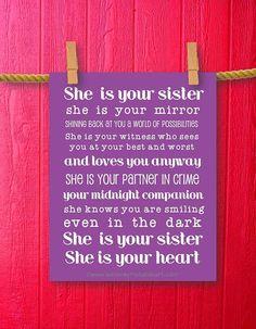 Sister Gift Teen Room Decor Girl Room by WeLovePrintableArt, $5.00