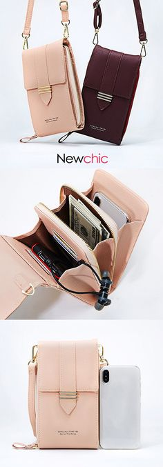 【US$ 22.39】Women Faux Leather Multi-pockets Shoulder Bag 5.5 Inches Crossbody Phone Bag #phonebags #minibags #casualbags