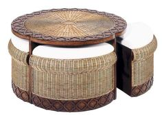 Nice Round Rattan Coffee Table With Stools