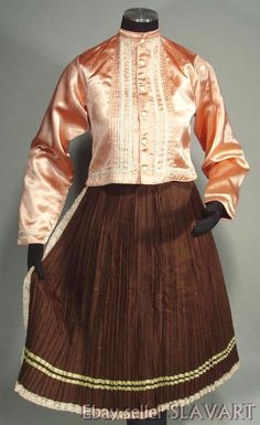 Slovak Folk Costume vintage pleated skirt apron pink jacket ethnic Vychodna kroj