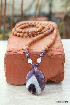 The Clarity Mala Amethyst Sandalwood Mala Meditation