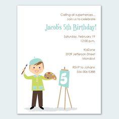 art party customized invites