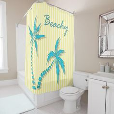 Palm Trees summer | Yellow Shower Curtain