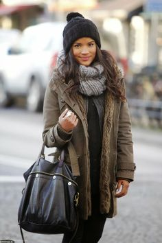 Fall Layers With Oversized Scarf,Fur Jacket and Leather Handbag