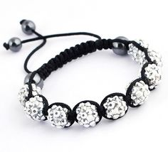 45mm Silver Clay Crystal Disco Ball Beads Cords Bracelet