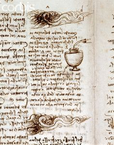 Text and Sketches of Waves and Pouring Water from Codex Leicester by Leonardo da Vinci #TuscanyAgriturismoGiratola