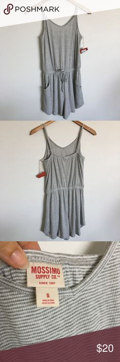 Striped Romper Sz S Striped Romper Size Small  runs big fits Medium Juniors but May shrink once washed  Similar Brandy Melville Forever 21  Color Gray & White #romper #striped Mossimo Supply Co Pants Jumpsuits & Rompers