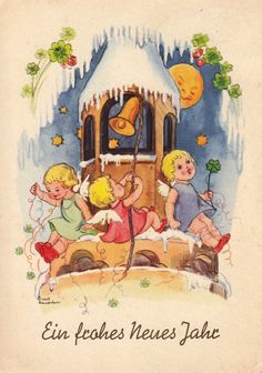 AK, Liesel Lauterborn, Neujahr, Engel auf dem Kirchturm läuten die Glocken-1940* | eBay