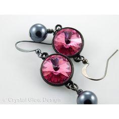 Rivoli Swarovski Rivoli Earrings, Rose Pink Swarovski Crystals, Grey... ($24) ❤ liked on Polyvore featuring jewelry, earrings, pink jewelry, rose jewellery, swarovski crystal jewelry, gunmetal earrings and grey pearl earrings
