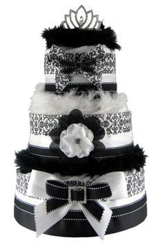 NYC Diaper Cakes Elegant Black and White Damask 3 Tier Diaper Cake