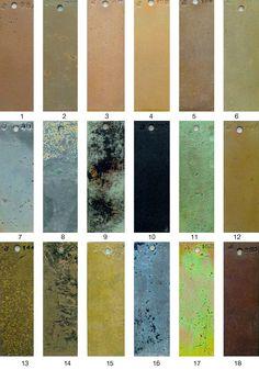 METALS FINISH GUIDE-(AB) Patina Metal, Bronze Patina, Dry Brush Technique, Metal Facade, Decorative Plaster, Metal Clay Jewelry, Metal Texture, Metal Artwork, Metal Finishes