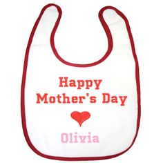 happy mothers day baby girls feeding bib personalised baby embroidery $8.00 by BabysPreciousGifts