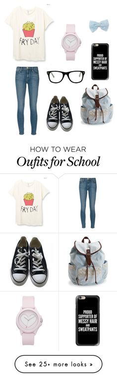 """BFF school outfits: me!"" by holly-hills on Polyvore featuring Frame Denim, Converse, Aéropostale, Muse, Casetify, Decree and Juicy Couture"