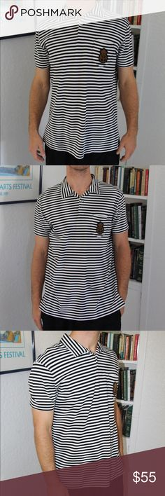 Striped Polo by Ralph Lauren w/ front pocket/patch Lightly worn vintage Polo by Ralph Lauren, bought circa 2010. Athletic fit, soft cotton great for evening dinners and celebrations. Rare front pocket RL crest helps make this shirt stand out. Great condition. Polo by Ralph Lauren Shirts Polos