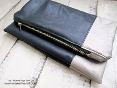 Make a Classic Leather Foldover Clutch - makes a great gift!   via Make It and Love It