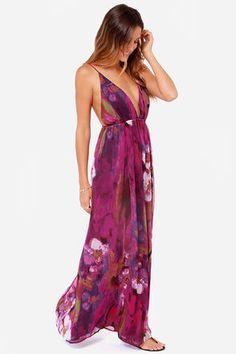 { lulu's backless purple print maxi }