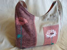 Eggshell and pinks large tote purse by InnerCreativeChild on Etsy, $65.00