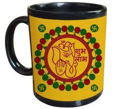 Tiedribbons - Shubh labh With Ganesh Diwali Gifts Black Coffee Mug