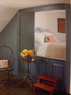 48 Stunning Alcove Bed Designs To Use Every Inch Of Your Small Home Alcove Bed, Bed Nook, Home Bedroom, Bedroom Decor, Bedrooms, Sleeping Nook, Box Bed, Attic Rooms, My New Room
