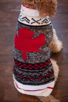 Dog Sweater, knit dog sweater, designer, dog clothing, Canada, Canadian, flag - Maple Leaf dog sweater by HandcraftedCrowns on Etsy