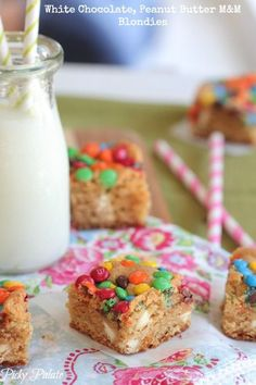 White Chocolate Peanut Butter M and M Blondies.