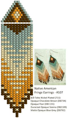 Beaded earrings 194217802666595692 - Linda's Crafty Inspirations: Fringe Earrings – Blue Grey, Sienna & Brown Source by patdeverre Beaded Earrings Native, Beaded Earrings Patterns, Seed Bead Patterns, Fringe Earrings, Beading Patterns, Brown Earrings, Crochet Patterns, Mosaic Patterns, Painting Patterns