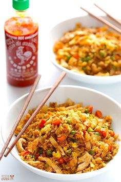 20-Minute Chicken Fried Rice with Egg & Sriracha