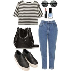 How to style: mom jeans by cathk on Polyvore featuring polyvore, fashion, style, TIBI, Topshop, Rachael Ruddick, NARS Cosmetics, H&M, stripes, bags, momjeans and slipon