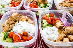 Insanely delicious Greek Chicken Meal Prep Bowls. Greek Marinated Chicken, cucumber salad, tzatziki, red onion, and tomato, served over brown rice. These are quick and easy to make, and will help you be set for the week. Don't you just love the flavors of Greek foods? I love the lemon, the dill, the red onion, and more. Basically if it has the word 'Greek' attached to it, I want in. This year, in an attempt to eat better, and stay on top of meals so I don't feel as much need to snack, or…