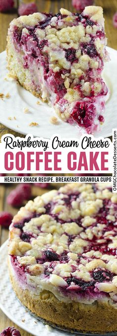 This Raspberry Cream Cheese Coffee Cake might just be the best coffee cake I've ever had! A quick and easy recipe for extra-moist cream cheese coffee cake studded with raspberries. Raspberry Coffee Cakes, Raspberry Desserts, Raspberry Breakfast, Raspberry Cheesecake Bars, Food Cakes, Cupcake Cakes, Cupcakes, Baking Recipes, Cake Recipes