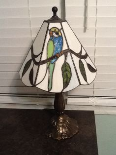 Parakeets on my desk. My new little lamp.