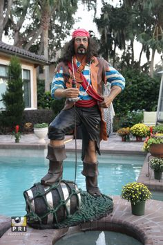 Pirate Standing on Whiskey Barrel Statue - Available at priproductions.com Pirate Theme, Pirate Party, Outside Decorations, Event Planning, Pirates, Whiskey, Barrel, Statue, Halloween