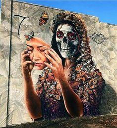 Dia De Los Muertos mural artwork by Gamma #street #art