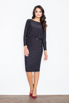 Looking for Long Sleeve Dresses? Call off the search with our Black Elegant Dress. Shop unique fashion at SilkFred Unique Fashion, Fashion Women, High Fashion, Wet Look Dress, Mode Unique, Robes Midi, Mi Long, Loose Fitting Tops, Dress Codes