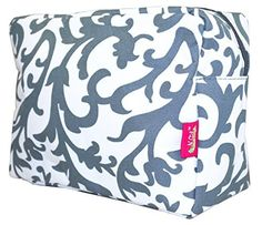 NGIL Cosmetic Pouch Floral Damask Print Grey >>> You can find out more details at the link of the image.