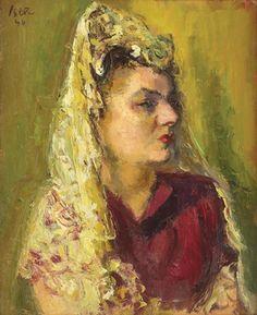 The Spanish Woman - Iosif Iser 1946 Spanish Woman, Art Database, Impressionism, Portrait, Gallery, Artworks, Women, Europe, Paintings