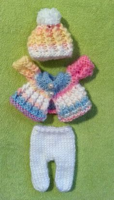 """Hand Knitted Dolls Clothes for 3,5-4"""" OOAK Doll (# 341)"""