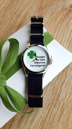 Minimalist Fun Watch, Irish Watch, Novelty Watch, NATO Strap, Handmade Watch, Statement Watch, Unisex Watch, Funny Gift. by IrishFashionWatches on Etsy Best Friend Gifts, Gifts For Friends, Nato Strap, Unique Fashion, Cool Watches, Funny Gifts, Special Gifts, Bracelet Watch, Irish
