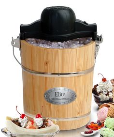 Elite By Maxi-matic Elite Gourmet 4 Quart Old Fashioned Pine Bucket Electric, Manual Ice Cream Maker Electric Ice Cream Maker, Make Ice Cream, Homemade Ice Cream, Gelato, Old Fashioned Ice Cream, Frozen Yogurt Recipes, Soft Serve, Gourmet, Gastronomia