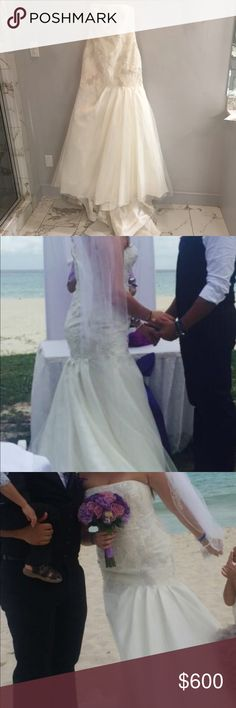 Vera Wang wedding dress Used once at beach exceptional condition pictures don't do it justice. Vera Wang Dresses Wedding
