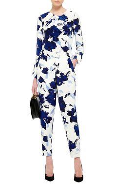 High Waisted Floral Printed Pants by OSCAR DE LA RENTA Now Available on Moda Operandi