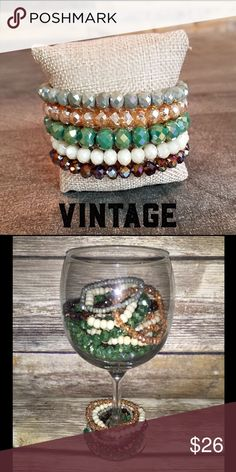 Beaded Bracelet Stack - Vintage We are loving our new bracelet stacks!!  These are the sparkliest, prettiest bracelets with incredibly vibrant colors.  Once you get your hands on one of these stacks, you'll want a stack from each collection.  Each stack features 5 bracelets ranging in size from 4mm to 10mm.  This stack features bracelets in pops of silver, peach, green, white, and bronze  NOTE - The 1st photo shows color only, and is not representative of the size of each bracelet.  Please…